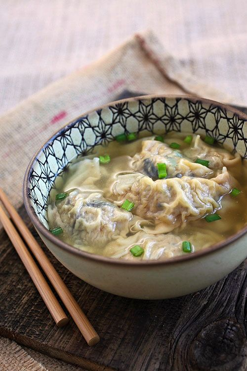 Pork Dumpling Soup - juicy and yummy pork dumplings in a hearty chicken soup, the most comforting soups ever and you can make it at home   rasamalaysia.com