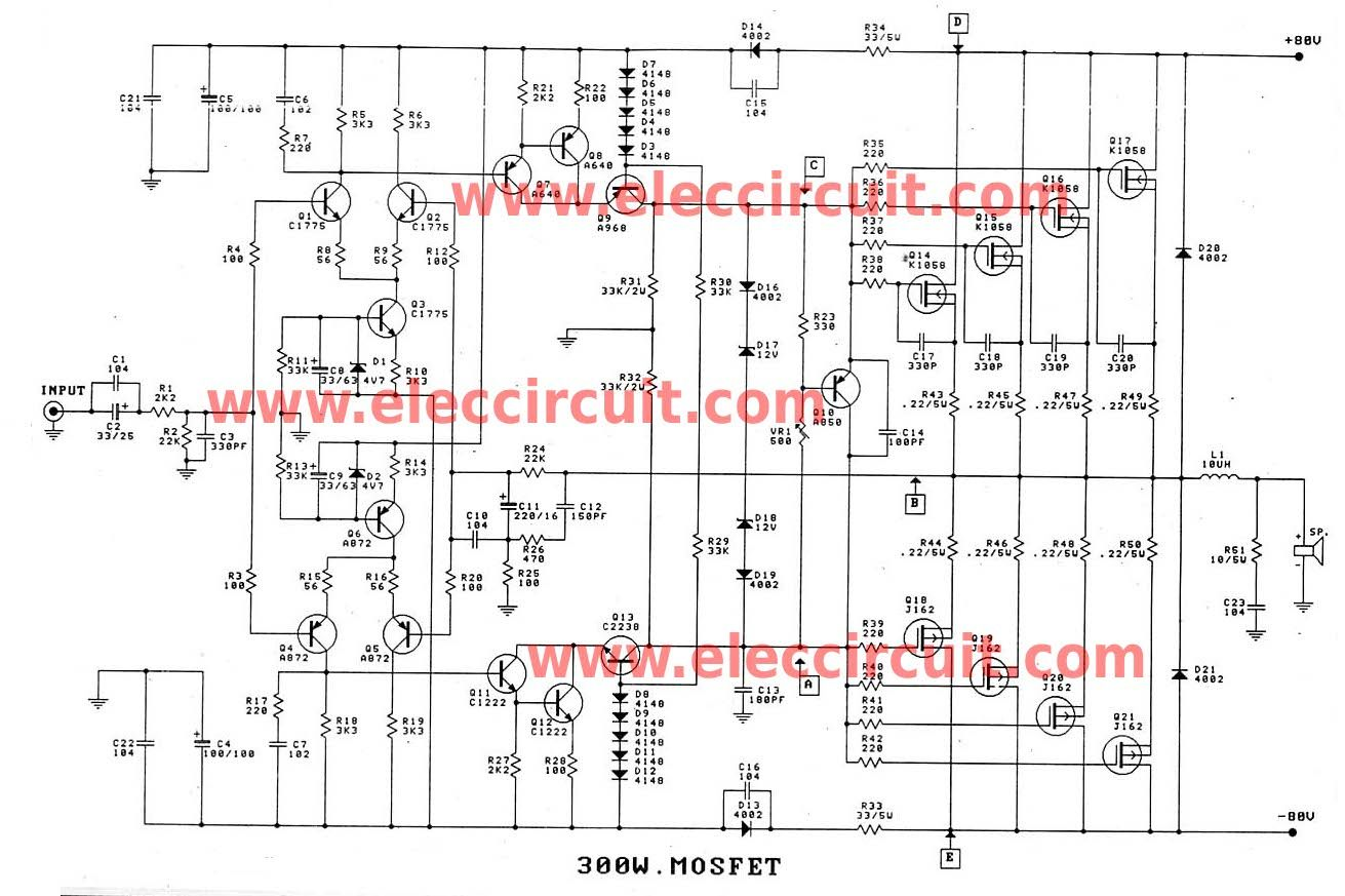400w High Power Mosfet Amplifier Ave Circuits Wiring Diagrams Circuit Amplifiercircuit Diagram Seekiccom 300 1200w For Professionals Amp Pinterest Rh Com