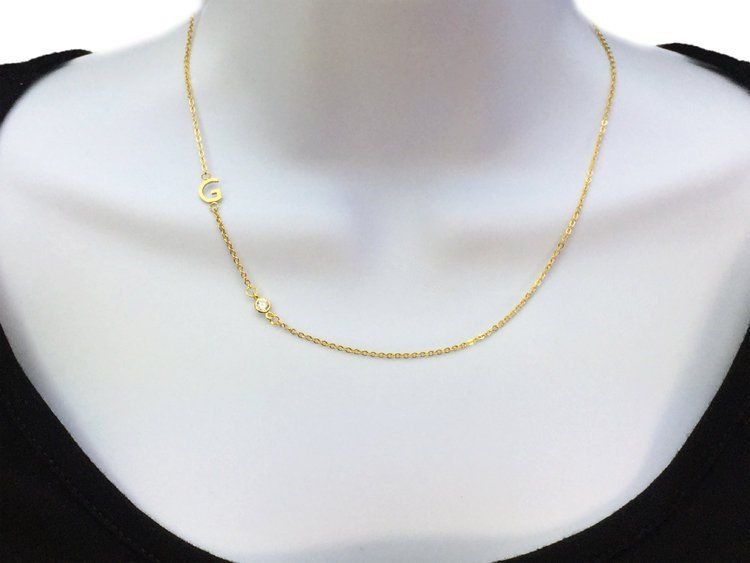 Sideways Initial Necklace Asymmetric Initial Dainty Necklace Letter Necklace Monogram Necklace Personalize Necklace Bridesmaid Gifts Initial Necklace Monogram Necklace Initial Necklace Gold