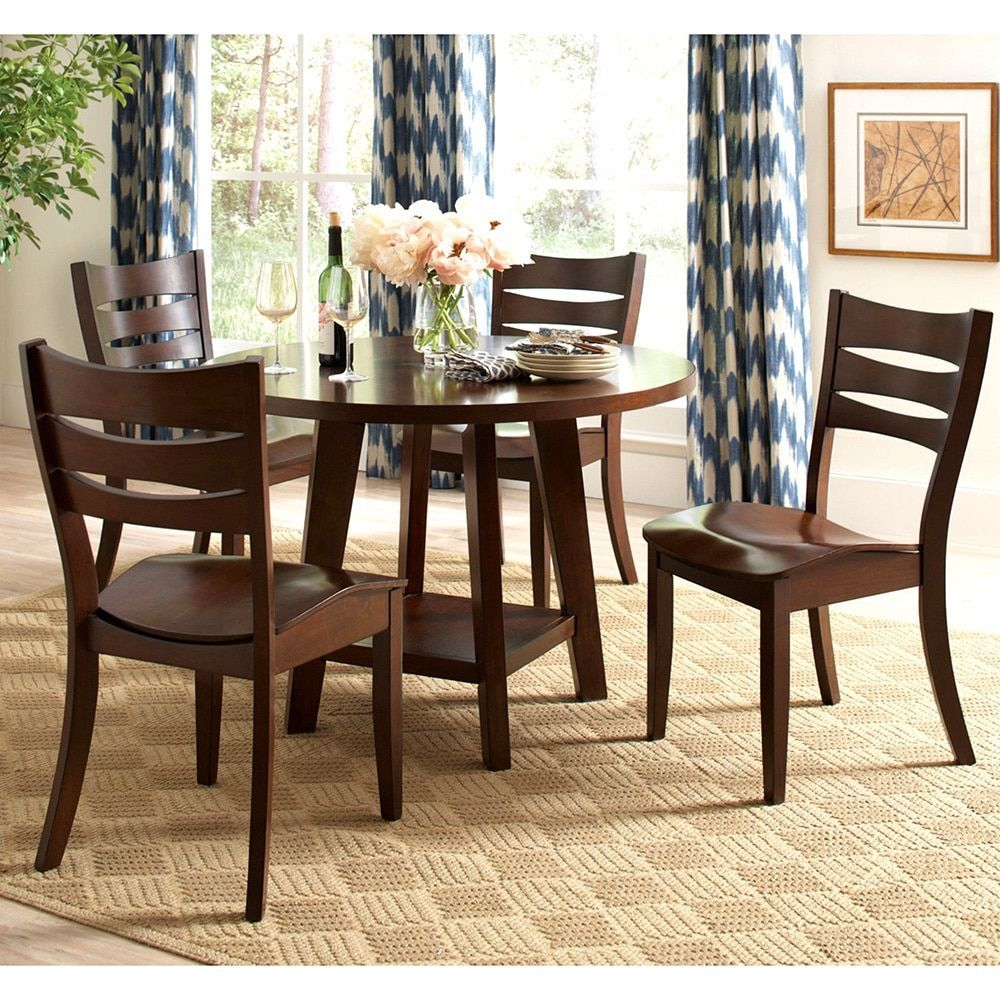 Round dining table and chairs for 4  Delta Transitional piece Saddle Seat Round Dining Set  Table