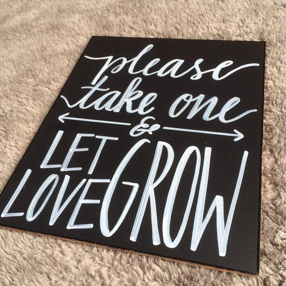 Let Love Grow Succulent Or Plant Seed Wedding Favor Sign