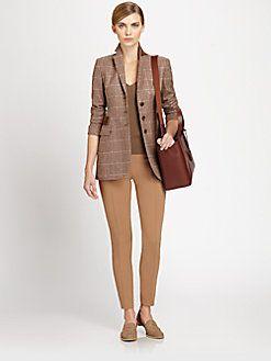 Akris - Suede-Trimmed Plaid Wool-Blend Blazer