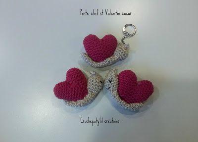 Amigurumi Tuto : Crochepatyfil créations porte clef coeur escargots amigurumi