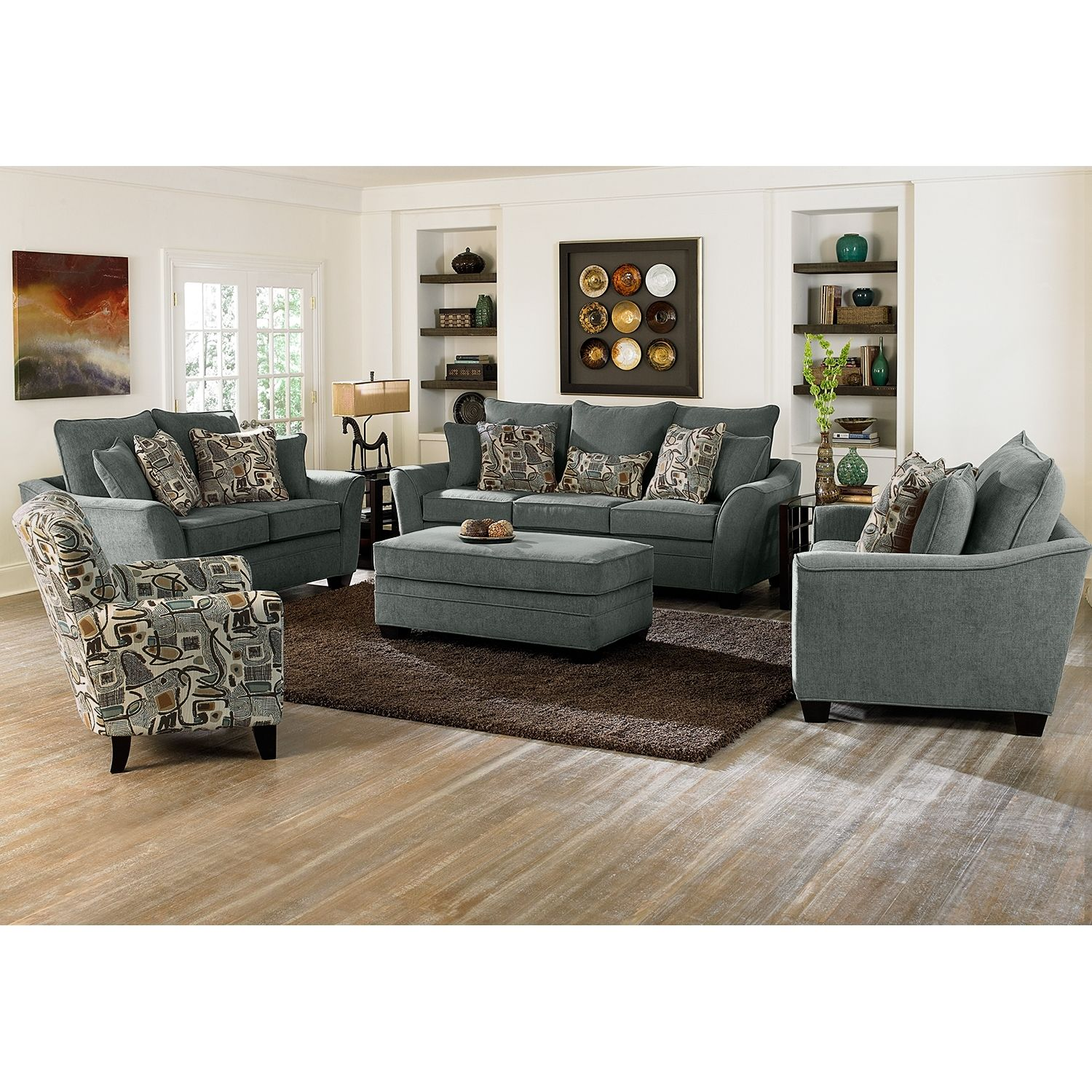 living room set with chair and a half  ottoman in living