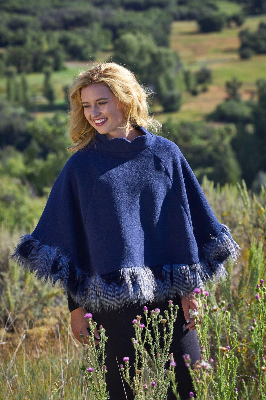 3385407f2 Ladies Fall Blue Poncho Wrap Shawl Cape Faux Fur Ostrich Feather ...