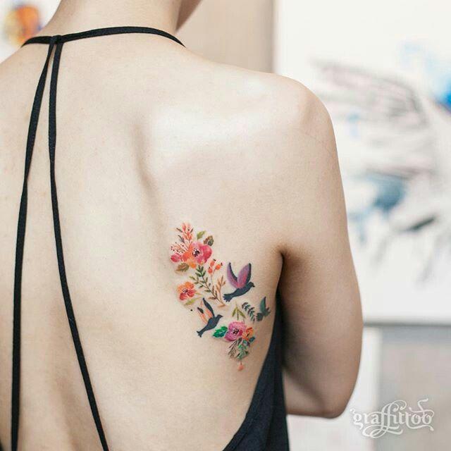 Pretty Feminine Watercolour Tattoo Bird Flowers Tattoos Korean Tattoo Artist Beautiful Tattoos