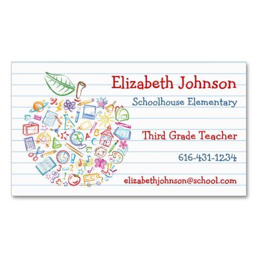 Colorful teachers apple business card business cards and teacher colorful teachers apple business card colourmoves