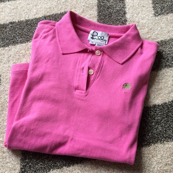 Lilly pink ss polo Lilly Pulitzer ss hibiscus pink stretch cotton polo with contrast green logo embroidery. Lilly Pulitzer Tops