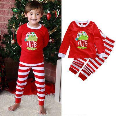 Click to Buy \u003c\u003c Christmas Baby Boys Girls Striped Nightwear Pajamas