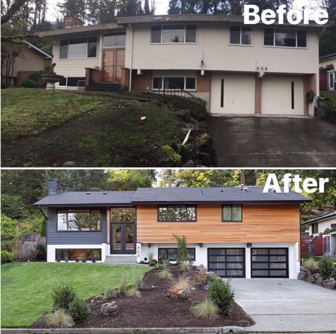 Split Level Home Exterior Makeover: Before And After, Remodel, Renovation In 2019