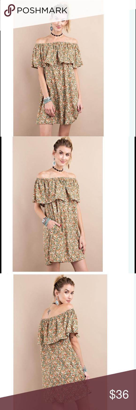Off the shoulder layered dress Hidden side pockets // 96% polyester, 4% spandex Dresses Mini