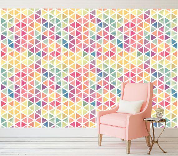 Geometric Peel And Stick Wallpaper Adhesive Vinyl Wallpaper Pattern Wallscape Remov Wallpaper Interior Design Custom Wall Murals Peel And Stick Wallpaper