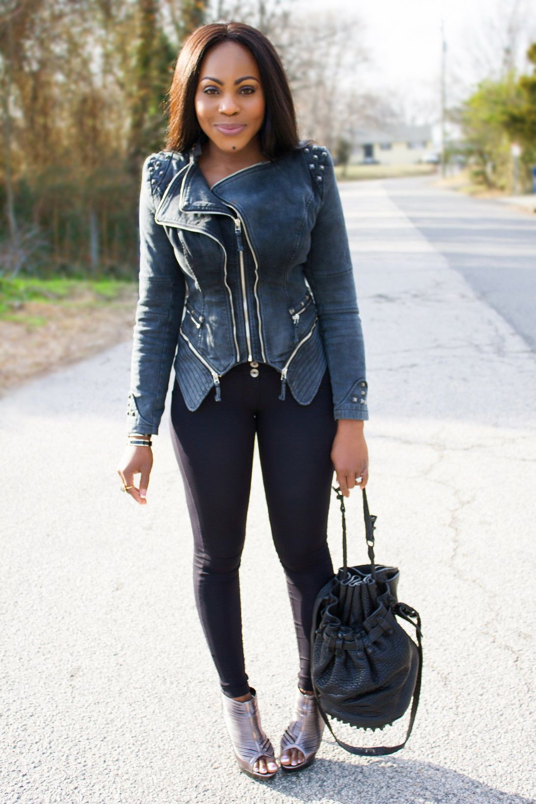 studded denim jackets with freddy wr up pants what to. Black Bedroom Furniture Sets. Home Design Ideas