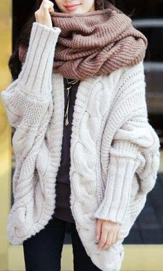 f2ea058405eddf Wire Knit Over Sized Cardigan With scarf. Chunky Knit Sweater