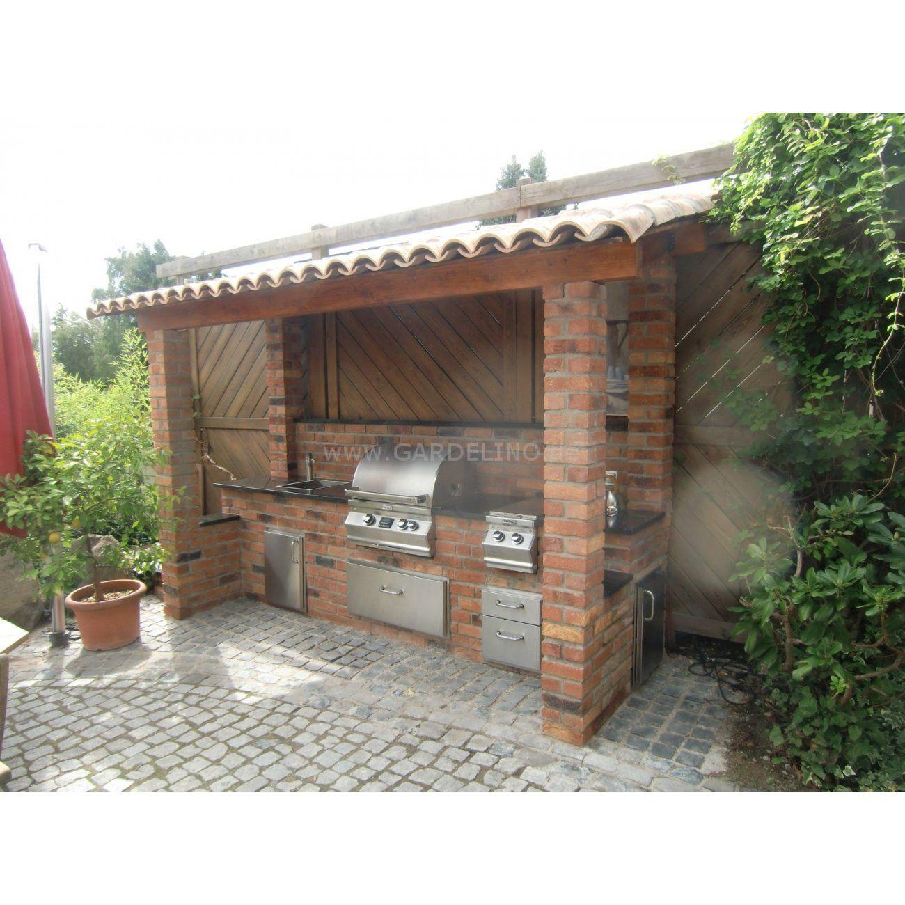 outdoorküche aus backstein mit fire magic einbau gasgrill selber ...