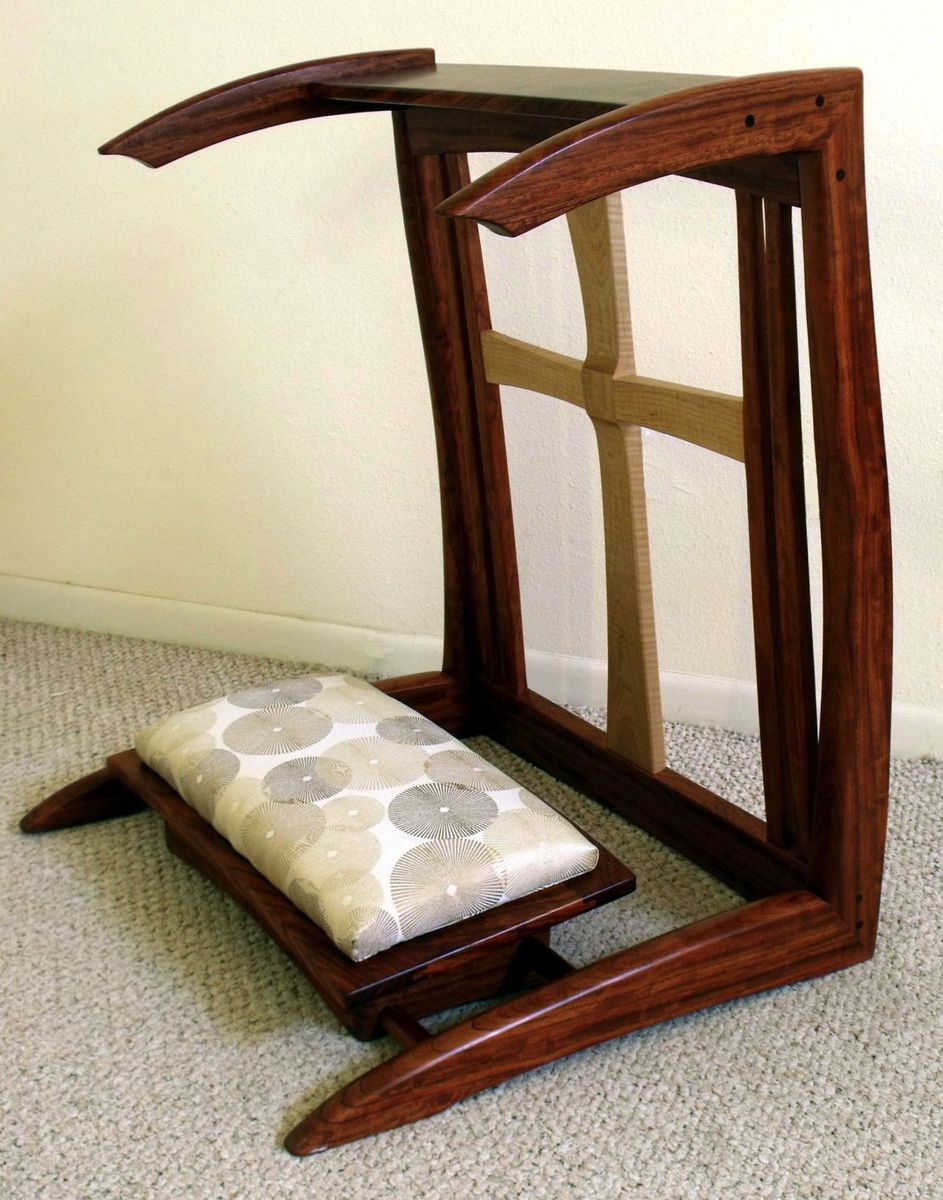 Custom Made Bubinga & Figured Maple Prayer Kneeler