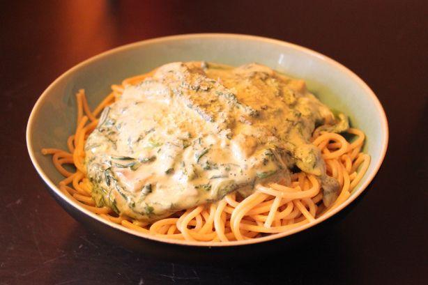 Spaghetti mit Champignon-Spinat-Sahnesauce