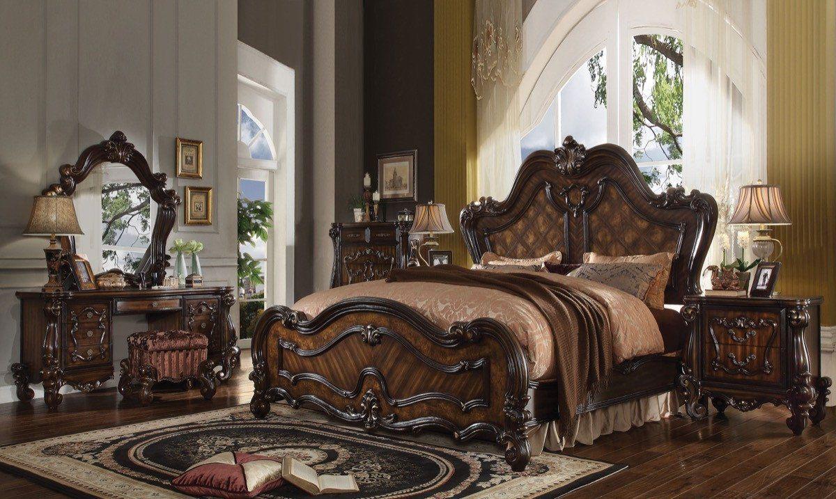 Acme Versailles Eastern King Bed Cherry Oak 21787ek Bedroom