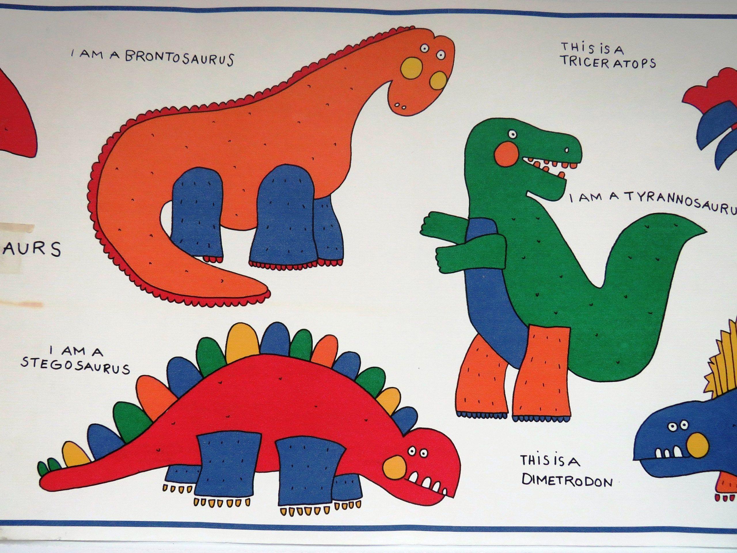 Childrens Dinosaur Wallpaper Border 15 Ft By 10 Inches Colorful Dinosaur Names Boys Girls Bedroom In 2020 Dinosaur Wallpaper Playroom Art Dinosaur Wallpaper Border