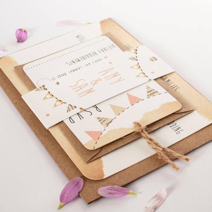 bunting wedding invitation bundle by norma&dorothy   notonthehighstreet.com
