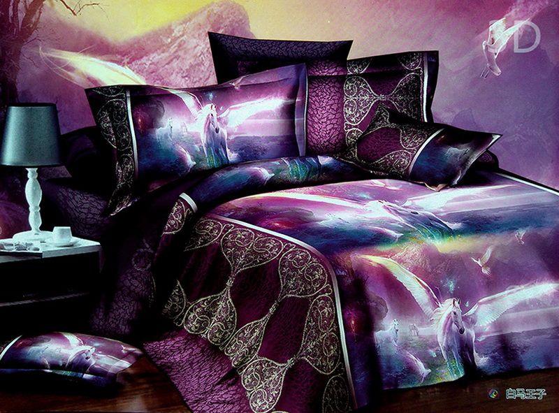 unicorn bedspreads | 3d unicorn print bedding sets purple duvet
