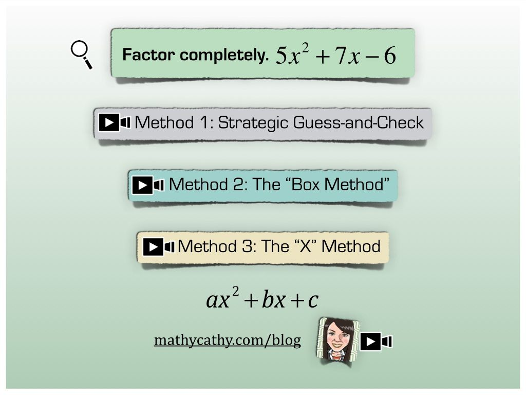 FACTORING Quadratic Trinomials -TOUCH this image to discover its ...