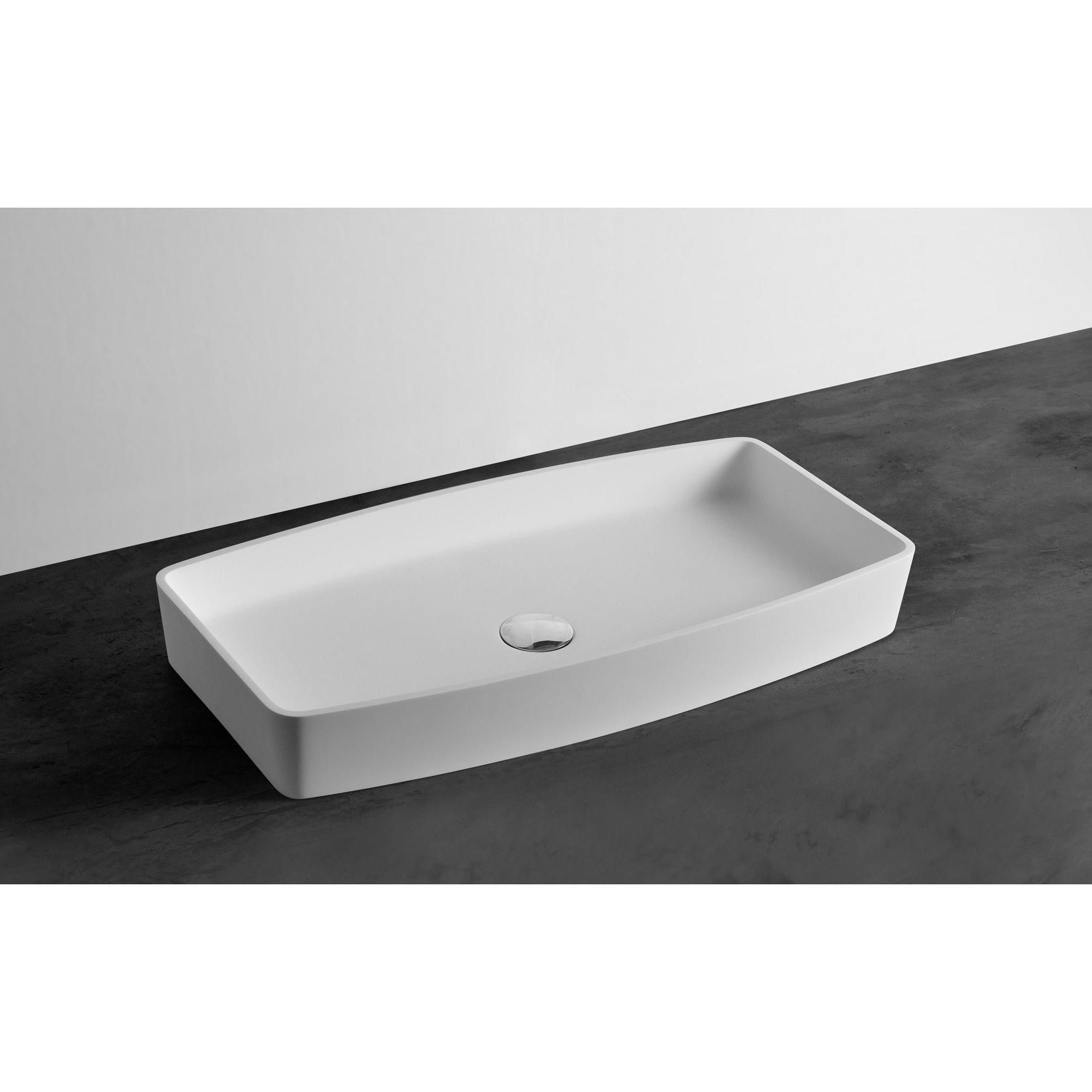 Ideavit Form Rectangular Solid Surface Vessel Sink Bowl Above Counter Sink  Lavatory For Vanity Cabinet