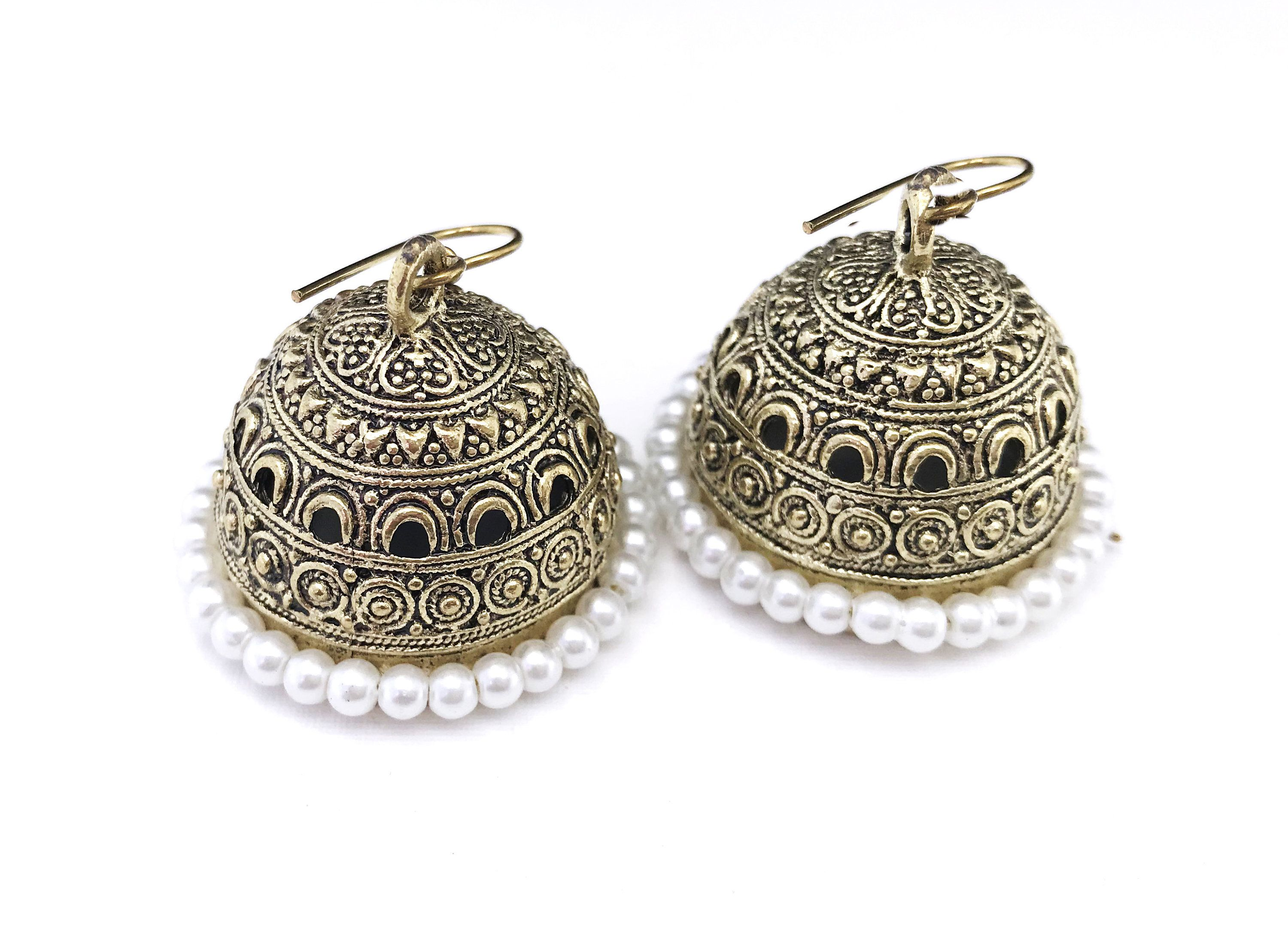 d72581b729e54 Bridal Pearl Earrings, Victorian Large Gold Jhumkas 18K Gold plated ...