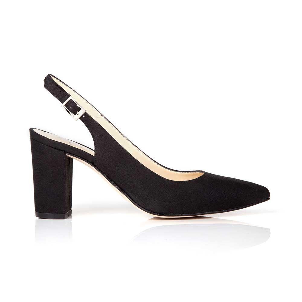 cb4a6239d31 Marion Black Block Heel Slingback Vegan Shoes | Sustainable Clothing ...