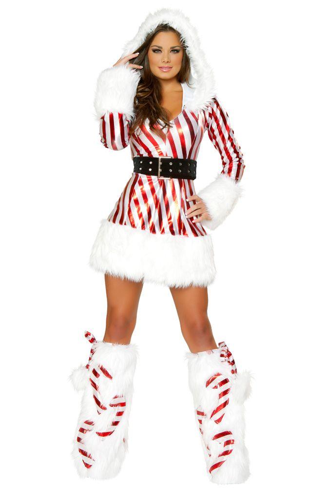 3ce3e85d8d20 Metallic Candy Cane Fur Hooded Dress - #christmas #santa #sexy #sexysanta  #noel #xmas #party #whitechristmas #snow #fancydress #costume  #fancydresscostume # ...