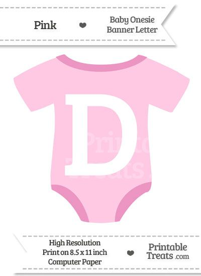 Pink Baby Onesie Shaped Banner Letter D  Printable TreatsCom