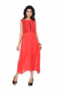 11113f5b93a09 ISHIN Georgette Western Orange One Piece Dress