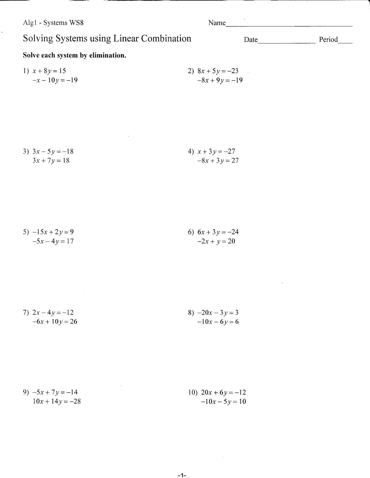 7 Elimination Worksheet Math