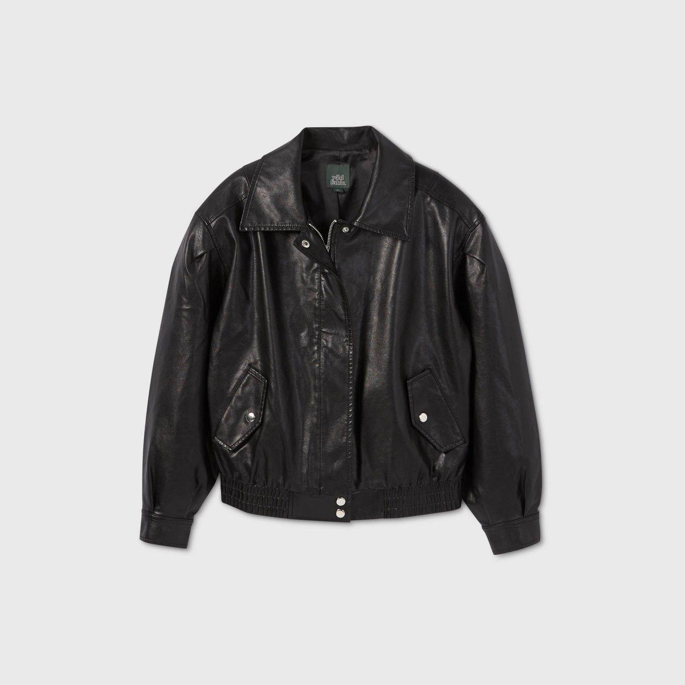 Women S Faux Leather Bomber Jacket Wild Fable Black Sponsored Leather Ad Faux Leather Bomber Jacket Leather Jackets Women Black Leather Jacket Outfit [ 1400 x 1400 Pixel ]