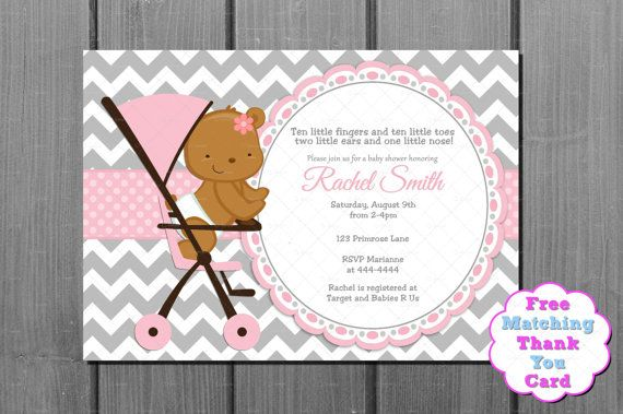 Pink And Grey Chevron Teddy Bear In Stroller Girl Baby Shower