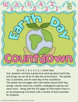 Earth Day Countdown Informational Articles 11 To Use For Ten Days Leading Up Student Half Page Booklet With An Activity Each
