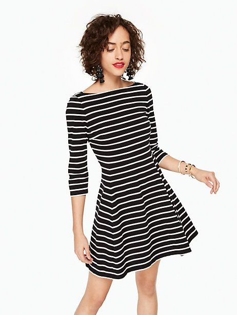 48bc04836b Kate Spade Stripe Essential Dress, Black/Off-White - Size XXL ...