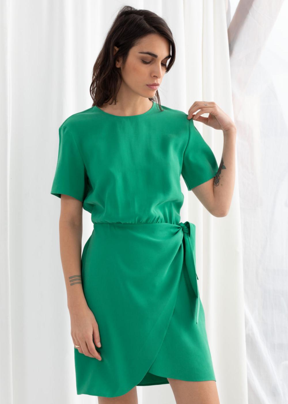 Tie Up Mini Wrap Dress Wrap Dress Mini Wrap Dress Wrap Dress Outfit [ 1400 x 1000 Pixel ]