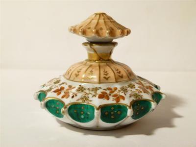 Antique Victorian Porcelain Perfume Scent Bottle Hand Painted Parasol Stopper