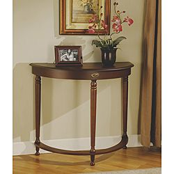 @Overstock - Update your decor with this attractive hall table. This furniture features wood construction with walnut finish.http://www.overstock.com/Home-Garden/Walnut-Crescent-Hall-Table/6613471/product.html?CID=214117 $111.57