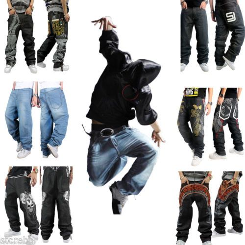 Mens jeans denim pants baggy #streetwear #hip-hop skateboard #graffiti trousers h,  View more on the LINK: http://www.zeppy.io/product/gb/2/112130550415/
