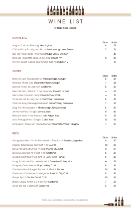 Wine List Template Wine List Free Wine Menu Template Wine List