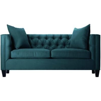 Home Decorators Collection Lakewood Polyester 1 Piece Tufted Sofa In Bella Lagoon 1310710330 The Depot