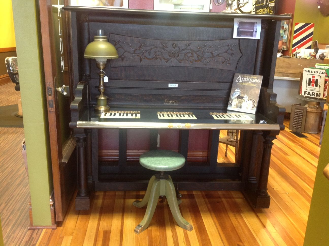 An old piano into a new piano desk! For sale at https://www.facebook.com/pages/A-New-Look-Antiques-Salon/131085143708467