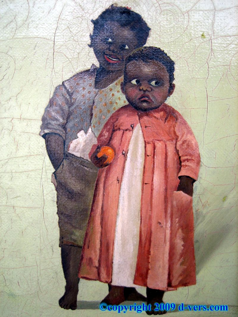 Painting of Black children, early 1800's (closeup