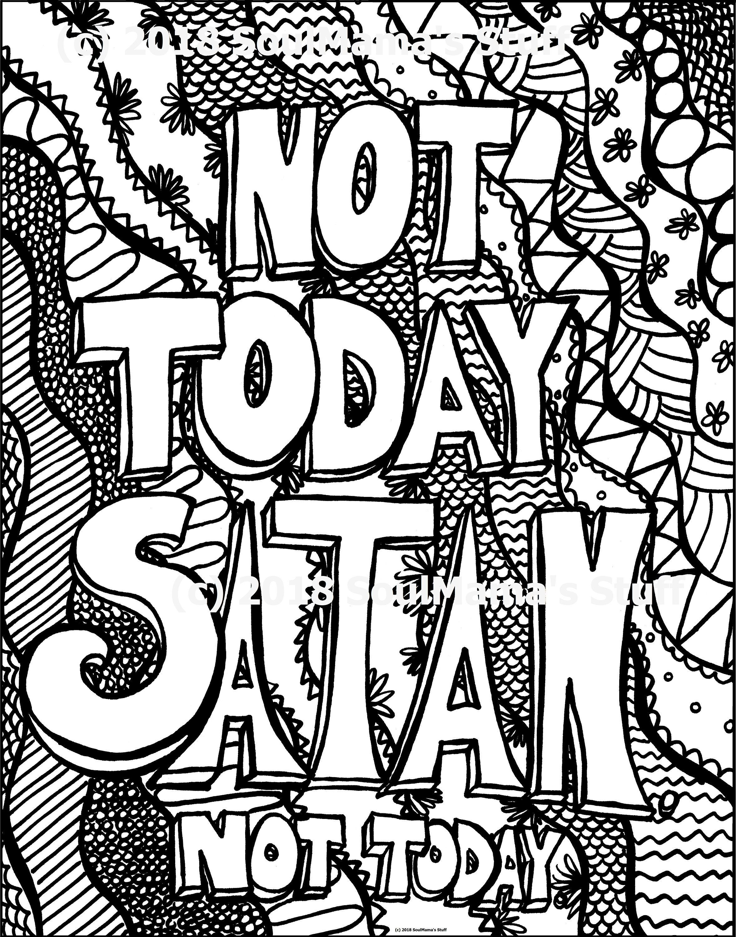 Not Today Satan Coloring Page Digital Download Pdf Adult