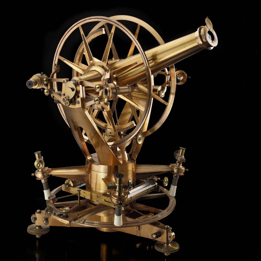 Portable altazimuth telescope. Five altazimuth instruments all made by Troughton and Simms were used in the Transit of Venus expeditions of 1874 and 1882.