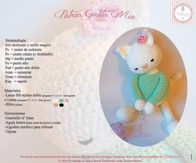 amigurumi de la gatita Mia patron 1 | Hello Kitty | Pinterest | El ...