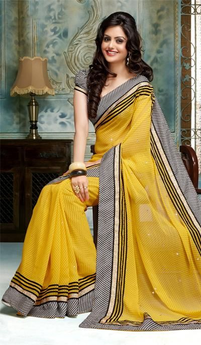73630955ea G3 fashions Yellow georgette printed designer saree Price: INR RS 1403
