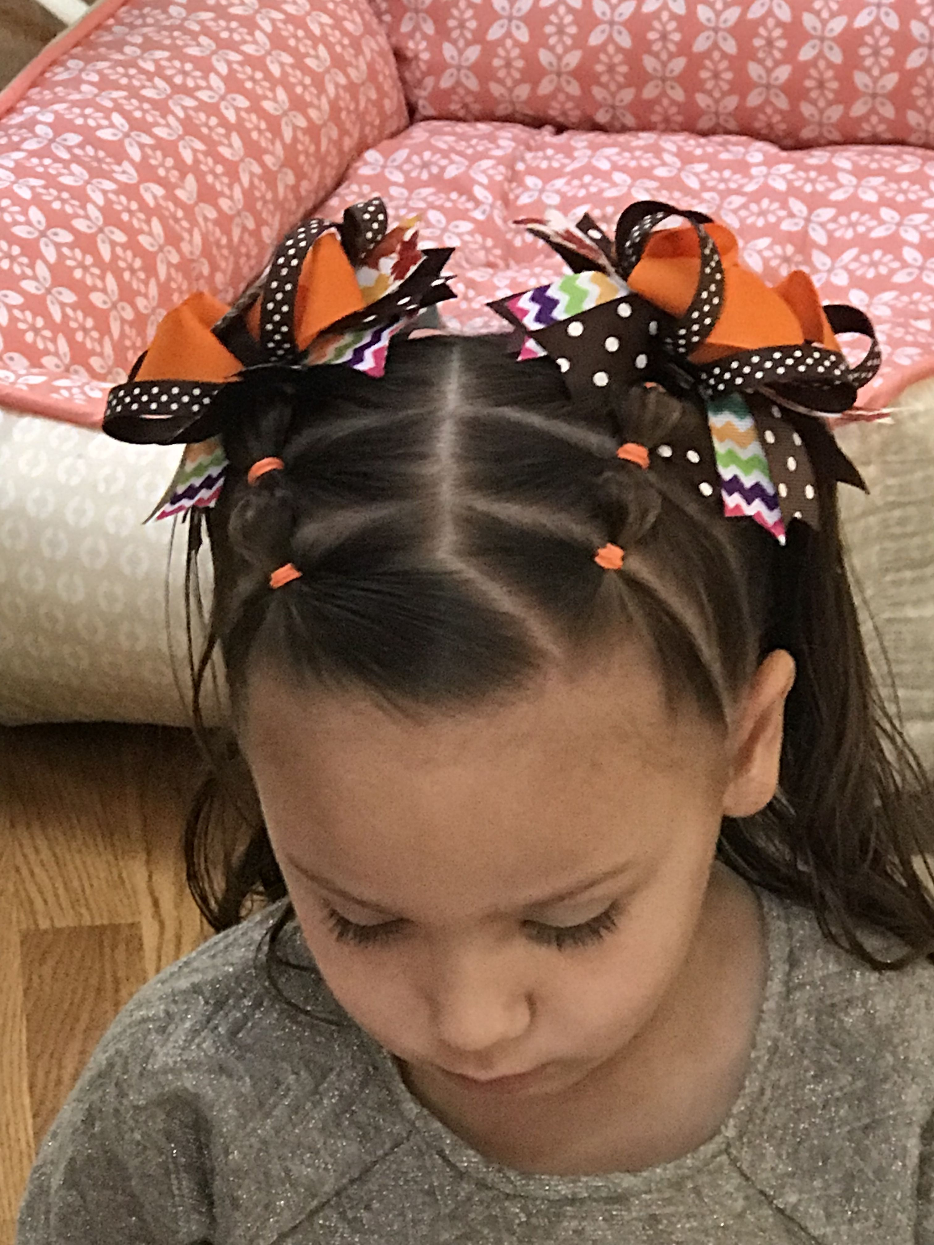 Thanksgiving hair bubble braided pigtails with the sweetest mickey